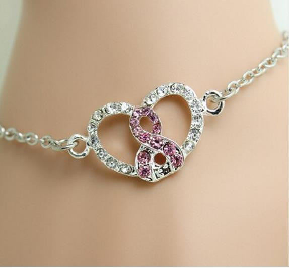 "Breast Cancer Awareness Bracelet: ""Pink Ribbon within my Heart"" Rhinestone awareness bracelet"