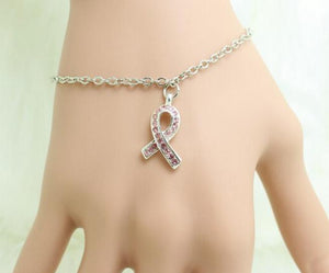 Breast Cancer Awareness: Pink Ribbon Rhinestone Dangle Charm Bracelet
