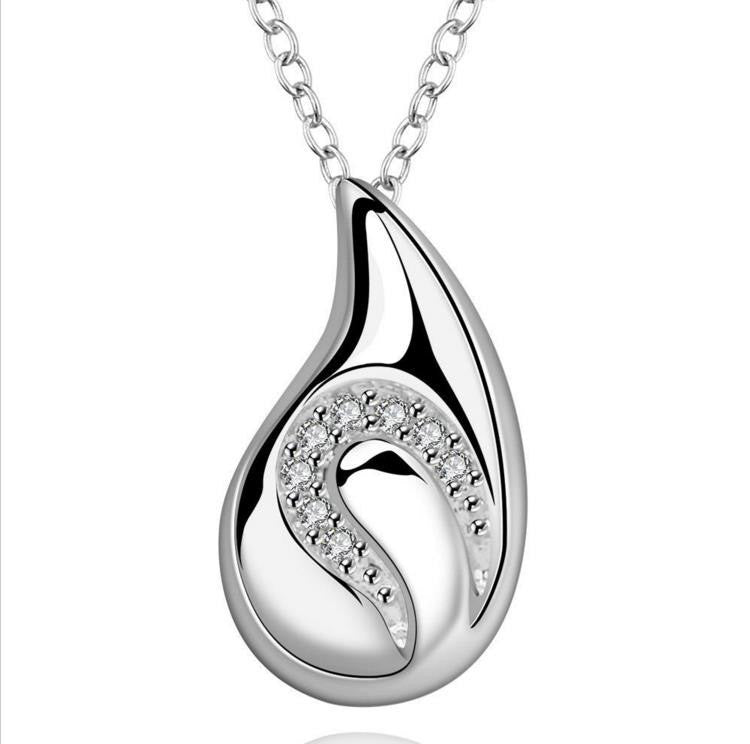 Necklace: Swirl Teardrop Pendant Necklace