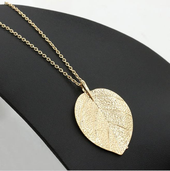 Long Necklace: Gold Leaf Dangle Pendant Necklace