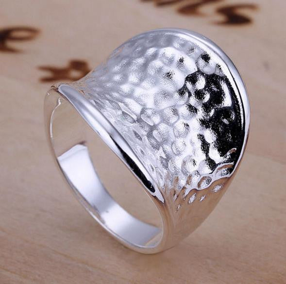 Ring: Hammered Steel Appearance Statement Ring
