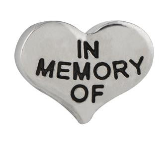"Floating Charm: Family Collection - ""In Memory Of"" Heart Charm"