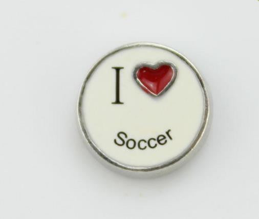 Floating Charm: Sports Collection -  I <3 Soccer Round Floating Charm