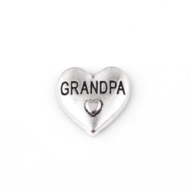 "Floating Charm: Family Collection - ""Grandpa"" Heart Charm"