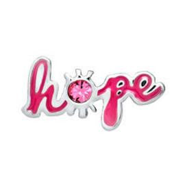 "Floating Charm: ""Hope"" Pink Breast Cancer Awareness Word Charm"