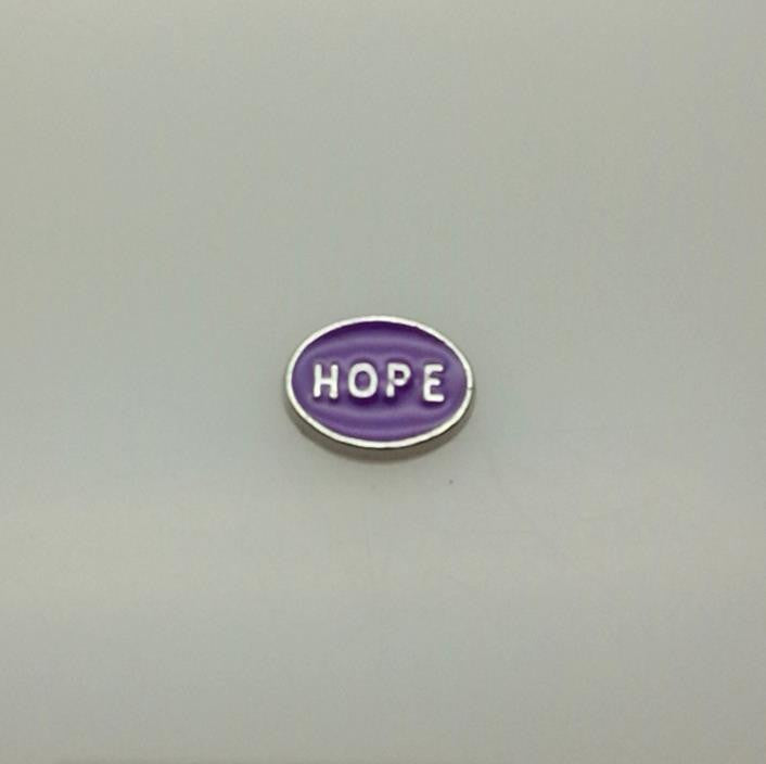 "Floating Charm: Inspirational Collection - ""Hope"" Purple Oval Charm"