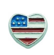 Floating Charm: Travel Collection - Heart American Flag Travel Charm