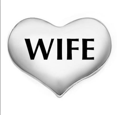 "Floating Charm: Bridal Collection - ""Wife"" Wedding Heart Charm"