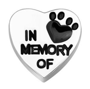 "Floating Charm: Animal Collection - ""Paw Print on My Heart"" In Memory Of Dog Pet Charm"