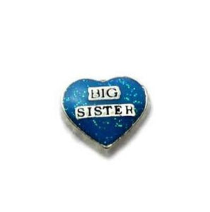 "Floating Charm: Family Collection - ""Sisterly Love"" Heart Charm - Big Sister"