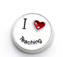 "Floating Charm: Education Collection - ""I <3 Teaching"" Charm"