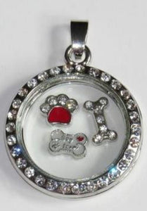 Floating Charm: Animal Collection - Dog bone crystal charm