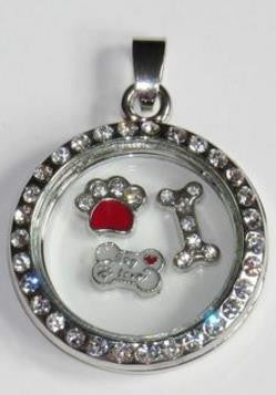 Floating Charm: Animal Collection - Crystal Accent Paw Print Charm