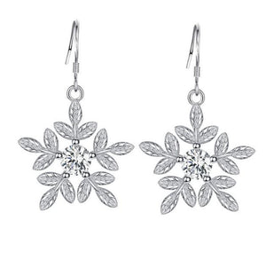 "Earrings: ""Fresh Frost"" Snowflake Dangle Silver Earrings"