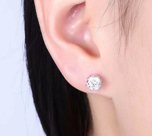 925 Sterling Silver: Earrings - Solitaire 7mm Stud Earrings
