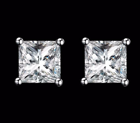 925 Sterling Silver: Earrings - Solitiare 9mm Stud Earrings - Square Cut