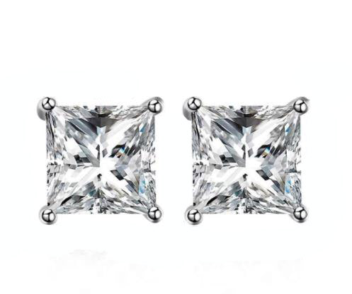 925 Sterling Silver: Earrings - Solitaire 8mm Stud Earrings - Curved-Square Cut