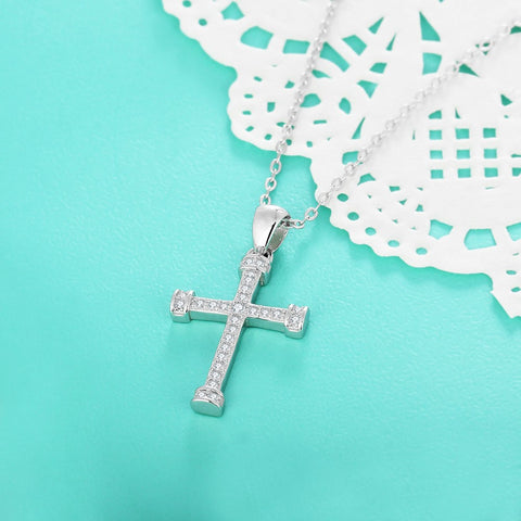 925 Sterling Silver: Delicate Cross Pendant Necklace (Chain Included)