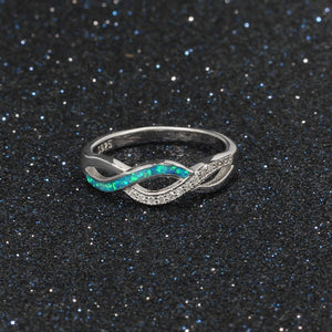 925 Sterling silver - Ring: Swirled Opal