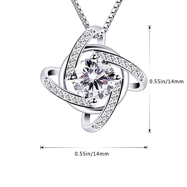 925 Sterling silver - Pendant Necklace: Love Knot Pendant
