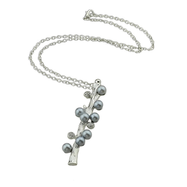 Long Necklace: Elongated Pearl Tree Branch Pendant Necklace