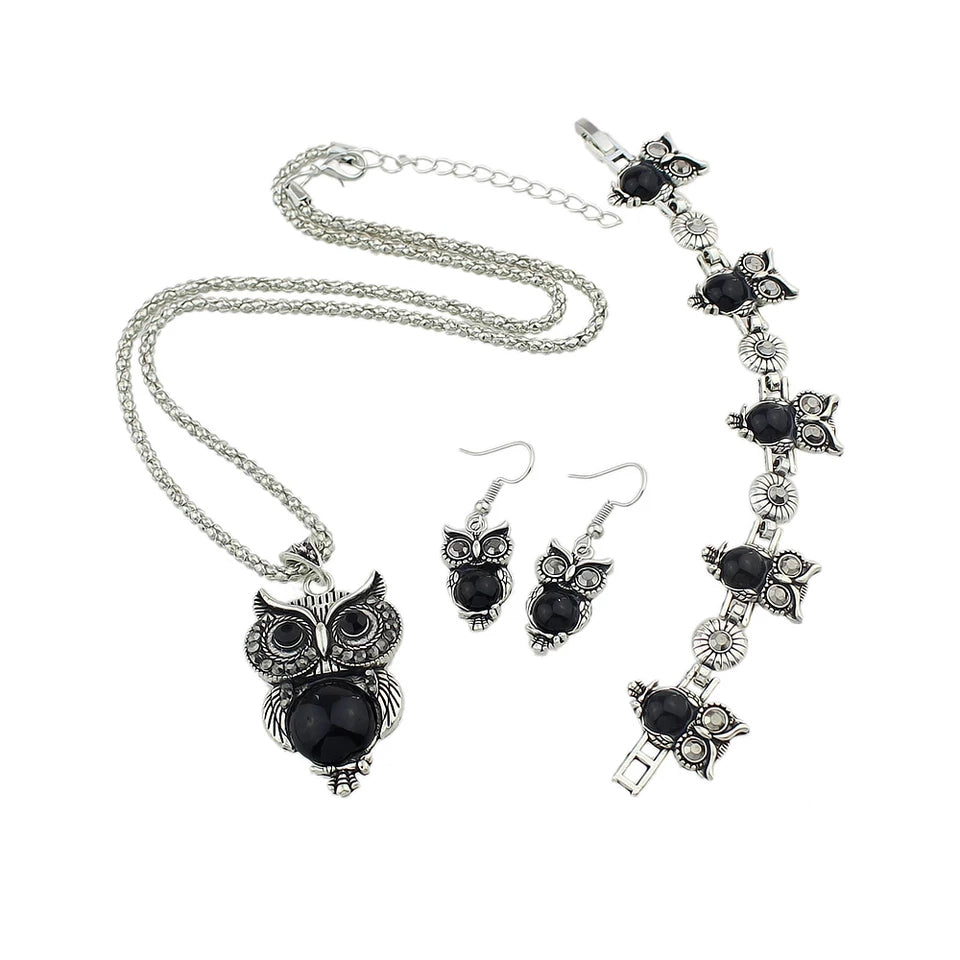 Jewellery Set: Owl Set - Necklace, Bracelet and Earrings