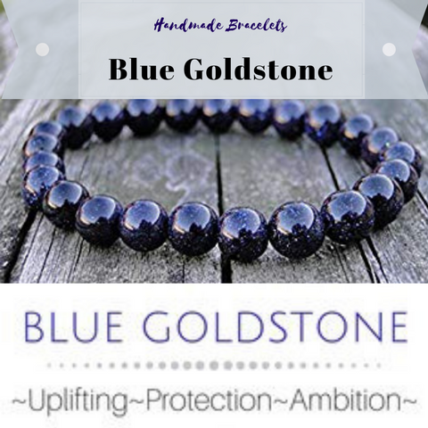 ***NEW: Bracelet - Handmade Beaded Gemstone Bracelet - Stretch - Different Sizes Available - Type of Stones: BLUE GOLDSTONE