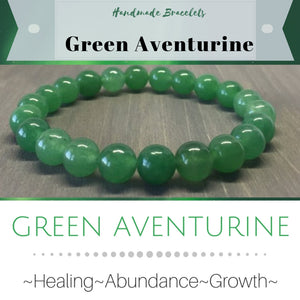 ***NEW: Bracelet - Handmade Beaded Gemstone Bracelet - Stretch - Different Sizes Available - Type of Stones: GREEN AVENTURINE