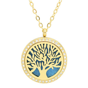 Aromatherapy: Locket Diffuser Necklace - Stainless Steel - Tree of Life - Rhinestone Accent - 30mm - Gold Tone