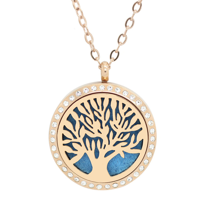 Aromatherapy: Locket Diffuser Necklace - Stainless Steel - Tree of Life - Rhinestone Accent - 30mm - Rose
