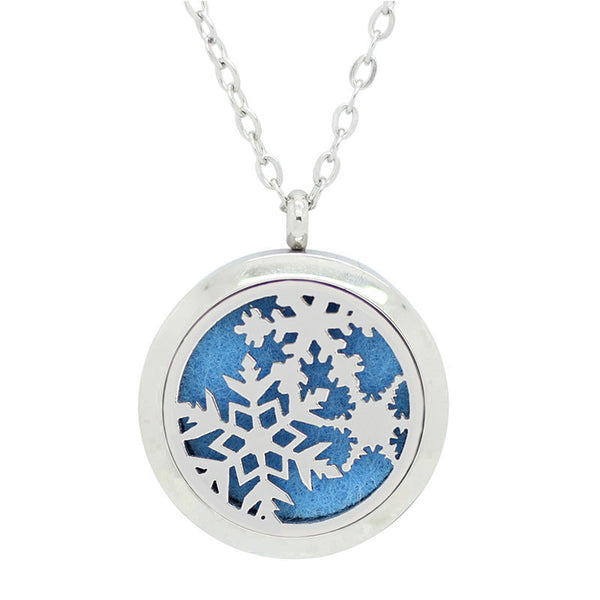 Aromatherapy: Locket Diffuser Necklace - Stainless Steel - Snowflake - 30mm