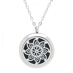 Aromatherapy: Locket Diffuser Necklace - Stainless Steel - Abstract Floral 30mm