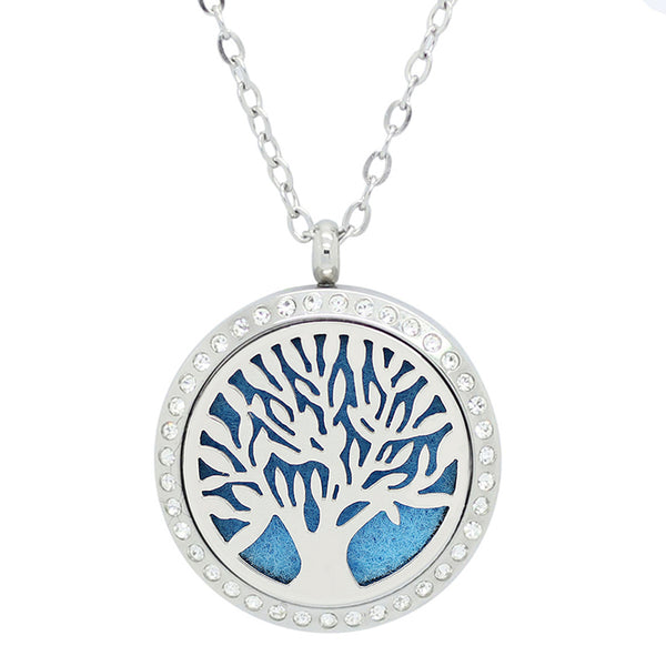 Aromatherapy: Locket Diffuser Necklace - Stainless Steel - Tree of Life - Rhinestone Accent - 30mm