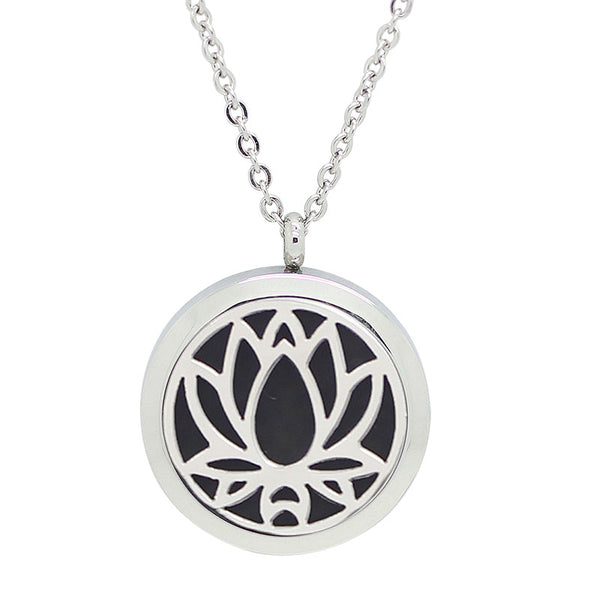 Aromatherapy: Locket Diffuser Necklace - Stainless Steel - Lotus Flower 20mm