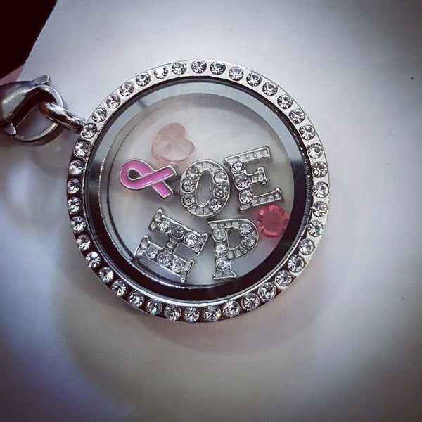 "Breast Cancer Awareness Charm Jewellery: **Locket & Charm Set** - BREAST CANCER AWARENESS ""Think Pink"""