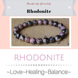 ***NEW: Bracelet - Handmade Beaded Gemstone Bracelet - Stretch - Different Sizes Available - Type of Stones: Rhondonite with 8mm beads
