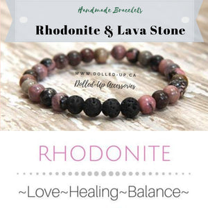 ***NEW: Bracelet - Handmade Beaded Gemstone Bracelet - Stretch - Different Sizes Available - Type of Stones: Rhondonite