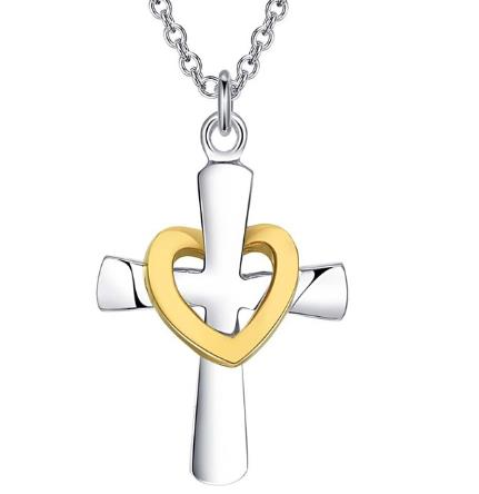 Necklace: Faith From Within Cross Pendant Necklace - 2-tone style