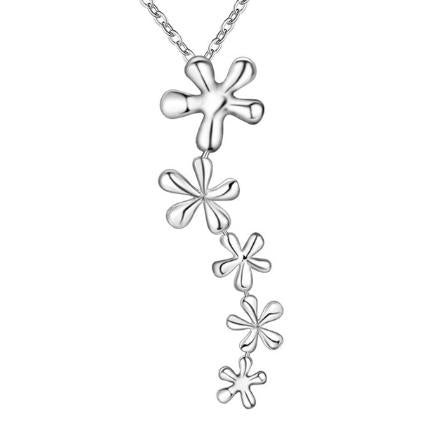 Long Necklace: Cascading Floral Silver Pendant Necklace