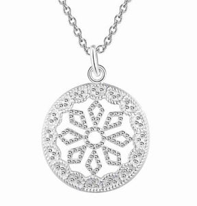 "Necklace: ""Frosted Circle"" Pendant Necklace"