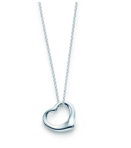 "Necklace: ""Ashlea"" Open-heart pendant silver plated necklace"