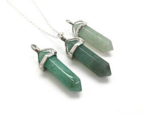 "Necklace: Natural Stone Green Aventurine ""Stone of Opportunity"" Pendant Necklace"