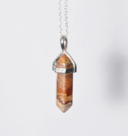 "Necklace: Natural Stone Picture Jasper ""Peace Stone"" Pendant Necklace"