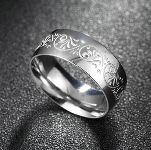 Ring: Titanium Steel Ring with Engraved Design - Sizes 7, 8, 9, 10