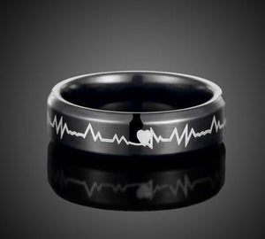 Ring: Titanium Steel - Black - Heart Beat EKG Love Design - Sizes 7, 8, 9, 10