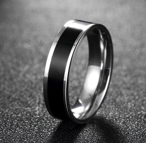 Ring: Titanium Steel Ring - Two-Tone Design - Size 10