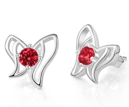 Earrings: Butterfly Studs - Red