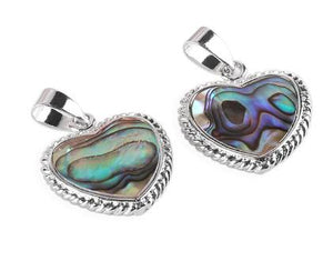 Necklace: Natural Abalone Shell Heart Pendant Necklace