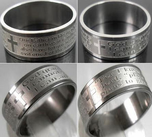 Ring: Stainless Steel - Lord's Prayer Ring - Stainless Steel (Silver Colour)