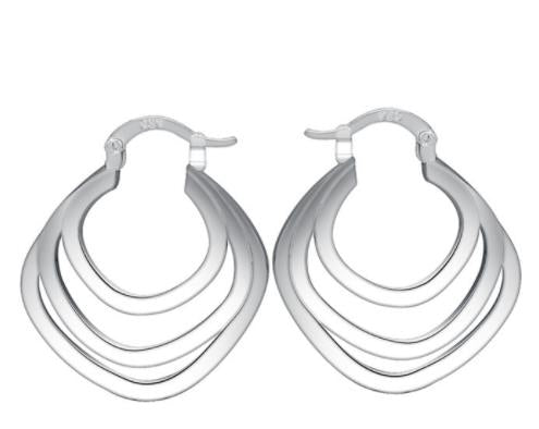 "Earrings: ""Tadashi"" Twisted Hoop Silver Earrings"